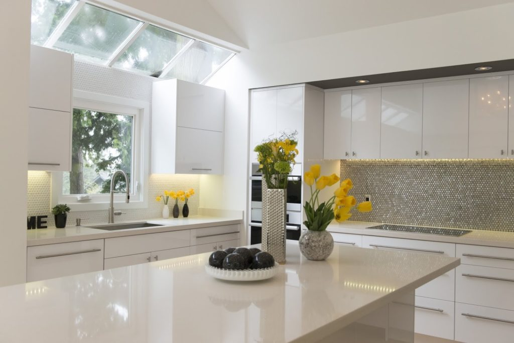 Kitchen stone countertop with undermount sink and Island