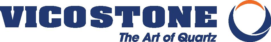 Vicostone horizontal colour logo with slogan and transparent background