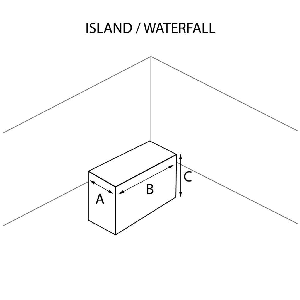 Island countertop with optional waterfall
