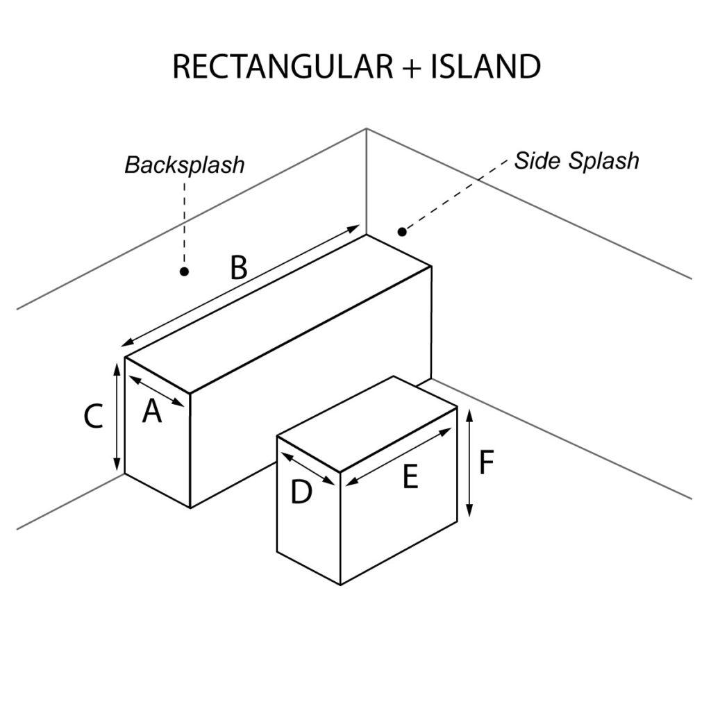 Rectangular and Island countertop with optional waterfall and backsplash and side splash