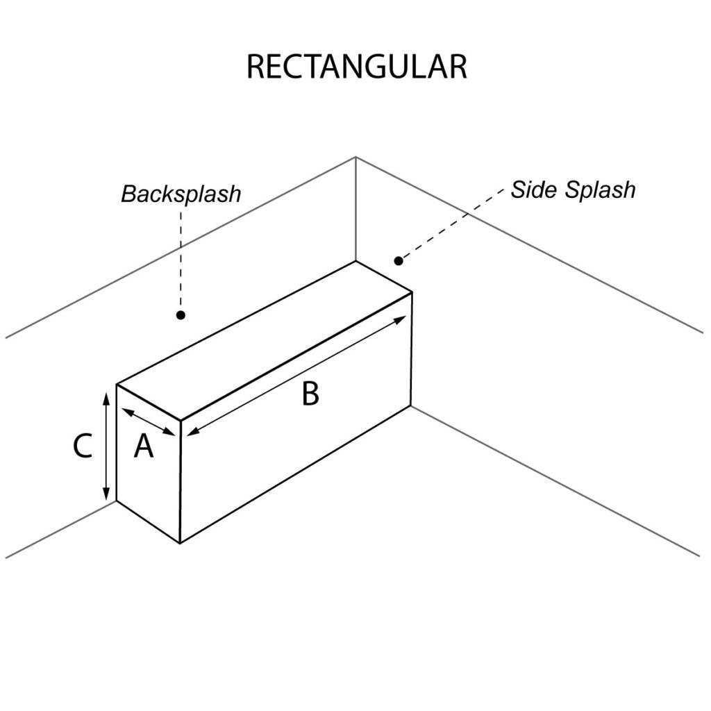 Rectangular countertop with optional waterfall and backsplash and side splash