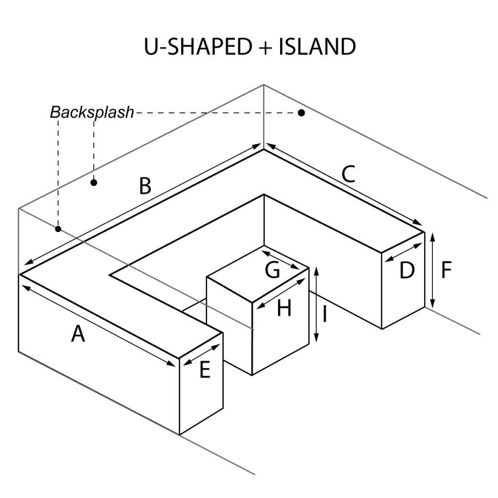 U-Shaped and Island countertop with optional waterfall and backsplash