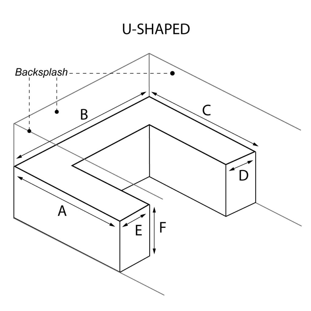 U-Shaped countertop with optional waterfall and backsplash