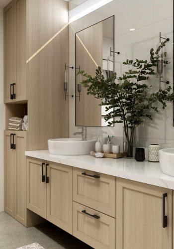 bathroom countertop with duo top mount sink